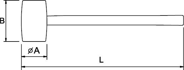 BLACK RUBBER MALLET HICKORY HANDLE 60 MM