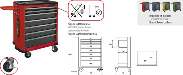 ROLLER CABINET 7 DRAWERS + TRAY RED COLOUR 730 × 475 × 1030 MM