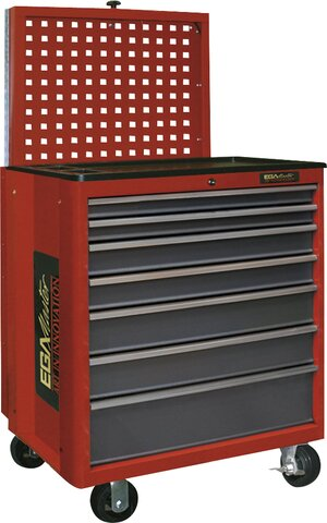 ROLLER CABINET 7 DRAWERS WITH PANEL RED COLOUR 695 × 570 × 1365 MM