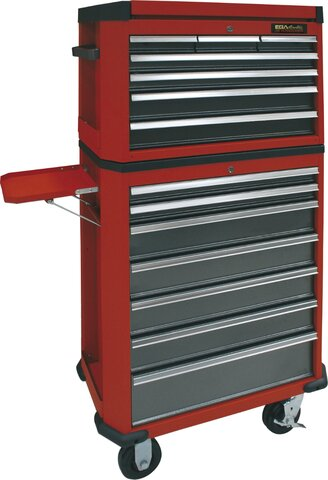 ROLLER CABINET AND TOOL CHEST 14 DRAWERS RED COLOUR 730 × 475 × 1500 MM