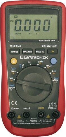 TEMPERATURE AUTOMOTIVE MULTIMETER EGATRONIK 400 µA-10 A AC 400 µA-10 A DC 4 V-1000 V DC 40 MV-1000 V AC