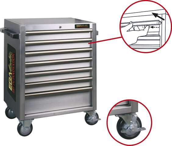 ROLLER CABINET 7 DRAWERS STAINLESS STEEL 680 × 470 × 935 MM